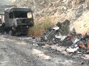 PKKlı teröristler 11 aracı ateşe verdi