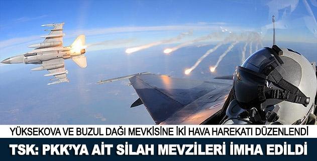 Terör örgütü PKKya ait silah mevzileri imha edildi