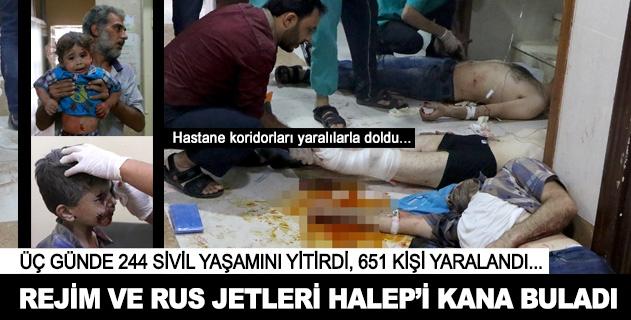 Rejim ve Rus jetleri Halepi kana buladı
