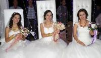 Üç gelin bir düğünle dünya evine girdi