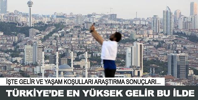 Türkiyede en yüksek gelir bu ilde