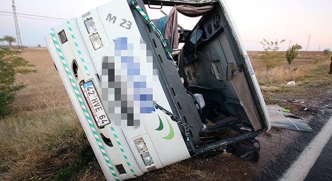 Yolcu midibüsü devrildi: 27 kişi yaralı