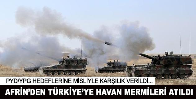 Afrinden Türkiyeye havan mermileri atıldı