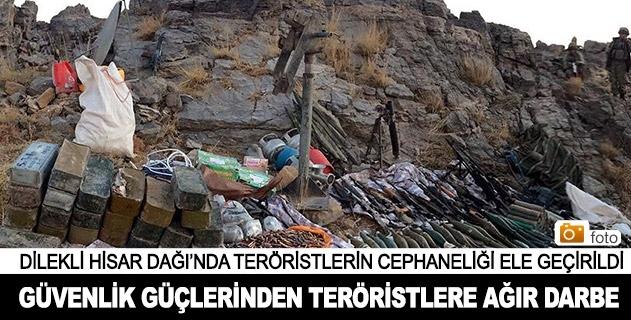 Dilekli Hisar Dağında teröristlerin cephaneliği bulundu