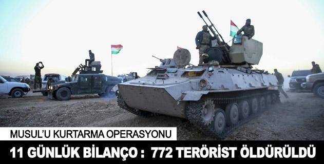 Musul operasyonunda 11 günde 772 terörist öldürüldü