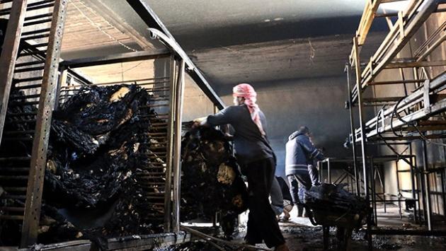 İdlibde ekmek fırınında yangın