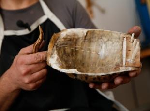 Kaplumbağa kabuğundan müzik aleti tasarladı