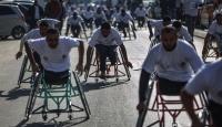 Gazzede engellere maratonla meydan okudular