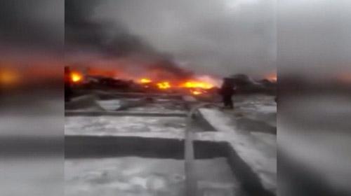 Kırgızistan'da düşen kargo uçağından ilk görüntüler