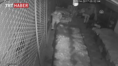 Gaziantepte hırsızlık anı güvenlik kamerasında