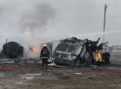 Konya'da kaza yapan araçlar alev aldı
