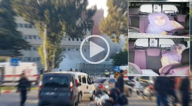 Kadın terörist taksinin güvenlik kamerasında