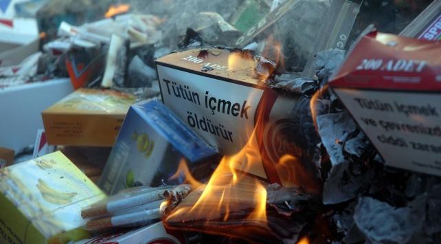 Bodrumda binlerce kaçak içki ve tütün imha edildi