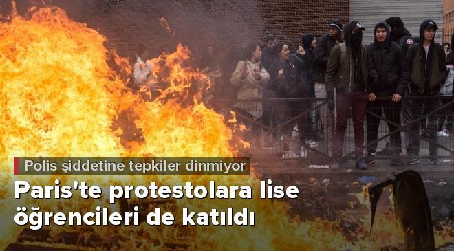 Pariste protestolara lise öğrencileride katıldı