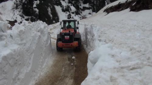 Çamlıhemşinde kar yollara geçit vermiyor