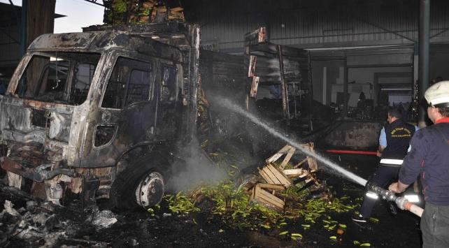 Sebze meyve yüklü kamyon cayır cayır yandı
