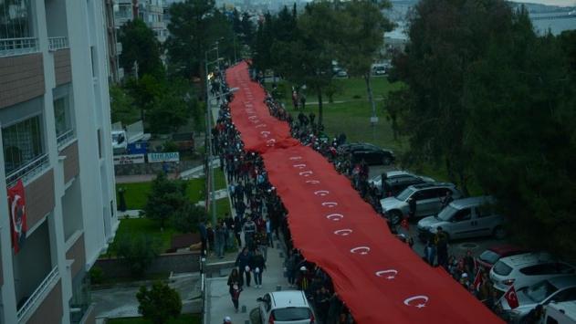Samsunda 1919 metre Türk bayrağı açıldı