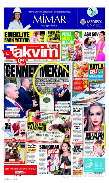 Gazete manşetleri (12.07.2017)