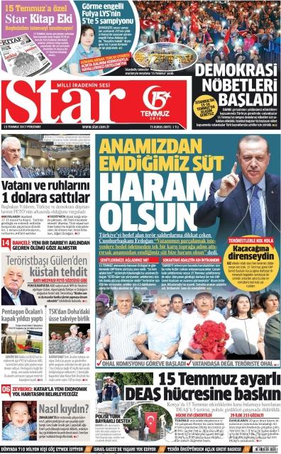 Gazete manşetleri (13.07.2017)