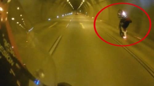 Tünelde şov yapayım derken kaza yaptı