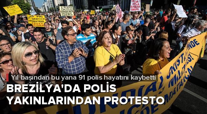 Brezilyada polis yakınlarından protesto