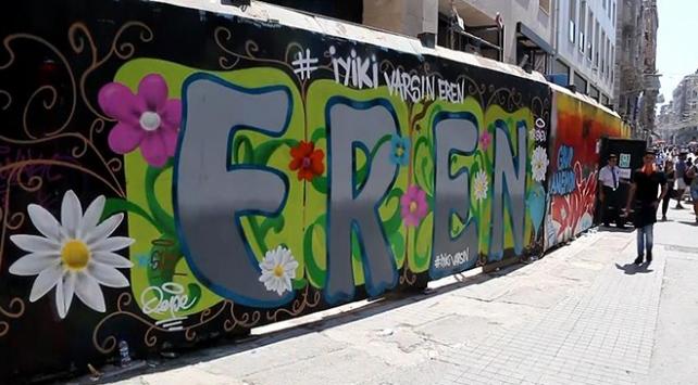 Şehit Eren Bülbül için İstiklal Caddesinde grafiti yapıldı