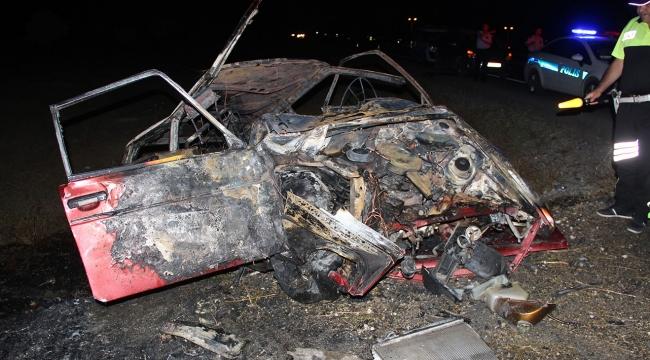 Yoldan çıkan otomobil önce devrildi sonra yandı: 1 ölü, 5 yaralı