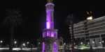 İzmir Saat Kulesi mor ışıkla aydınlatıldı