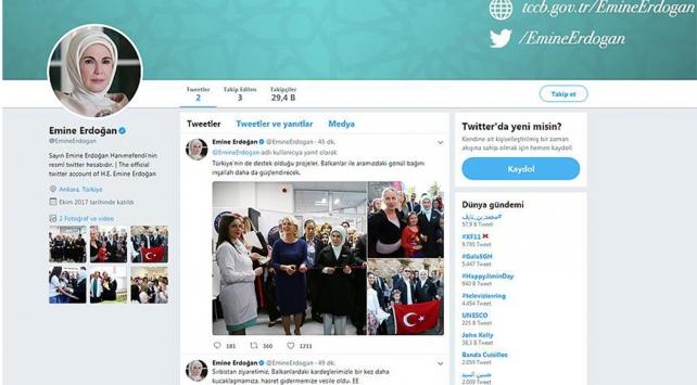 Emine Erdoğanın Twitterdaki ilk paylaşımı