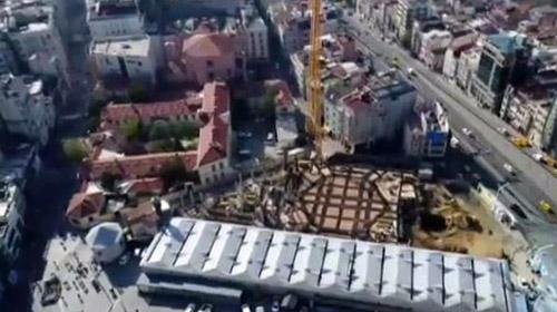 Taksim Camiinin son durumu havadan görüntülendi