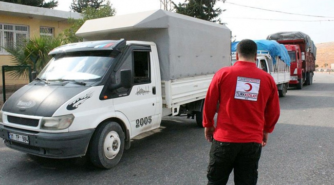 Türk Kızılayından Suriyelilere 188 araçlık kış yardımı