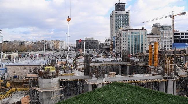 Taksime yapılan caminin inşaatı yükseliyor