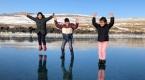 Buz tutan Çıldır Gölünün muhteşem görüntüsü