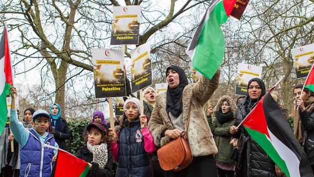 Londrada ABDnin Kudüs kararı protesto edildi