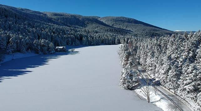 Bolunun incisi Gölcük Tabiat Parkındaki göl buz tuttu
