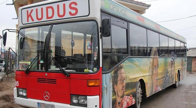 Üsküpte otobüslü Kudüs protestosu