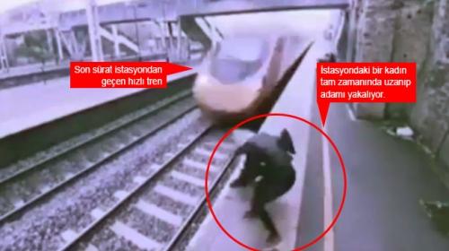 İngilterede bir kadın trenin önüne atlayan adamı son anda kurtardı