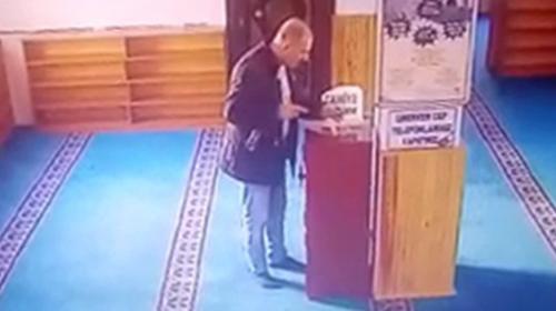 Camiden sadaka parasını çalan hırsız kamerada