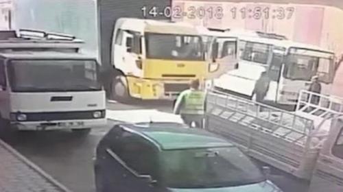 Şoför el frenini çekmeyi unuttu, bir kaza böyle engellendi