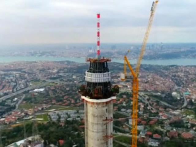 Çamlıca Kulesindeki çalışmalar havadan görüntülendi