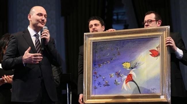 İçişleri Bakanı Soylunun kelebek hastaları için yaptığı resim 500 bin liraya satıldı
