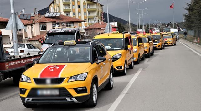 Ispartada yüzlerce araçla Zeytin Dalı Harekatına destek konvoyu