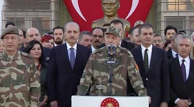 Cumhurbaşkanı Erdoğan Hatayda sınır karakolunda konuşuyor