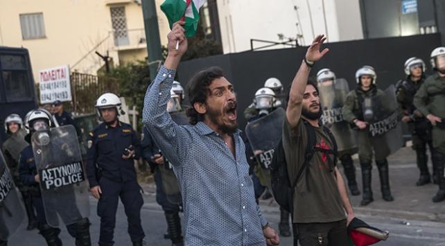 Yunanistanda göstericiler Filistin için sokağa çıktı