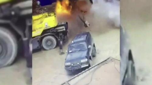 Rusya'da boş yakıt deposu böyle patladı