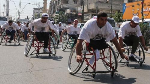 Filistinli engelliler İsrail hapishanelerindeki Filistinli hasta mahkumlar için yarıştı