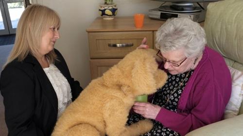 """Robotik köpek """"Bisküvi"""" bakımevindeki yaşlılara destek oluyor"""