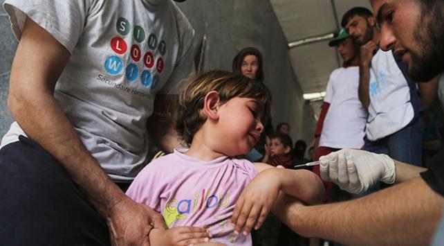 Doğu Gutadan göç eden çocuklara aşı yapıldı