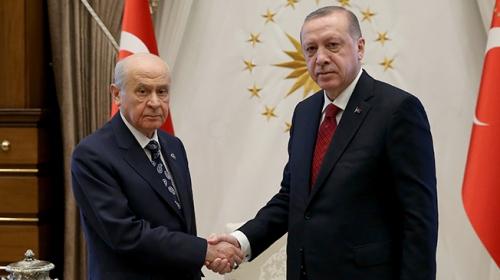 Cumhurbaşkanı Erdoğan-Bahçeli görüşmesinden ilk görüntüler