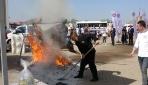 200 kiloluk dana pişirilirken alev alev yandı